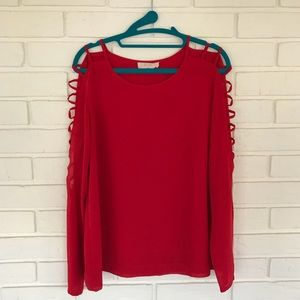 Red Cold Shoulder Long Sleeve Top